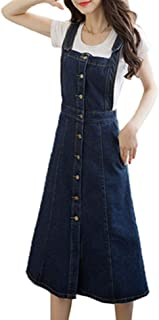 Jean Dress Women's College Style Sling Denim A Line Knee Feast Clothing Length Dress Breasted Spring Summer Korean Style F...