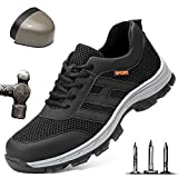 Ligeras Zapatos de Seguridad para Hombre Puntera de Acero Zapatillas de Seguridad Trabajo Transpirables Antideslizantes Anti-Piercing Calzado de Industrial y Deportiva,Negro,45