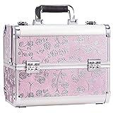 Maletín maquillaje profesional rosa estuche maquillaje mujer caja maquillaje joyero organizador esmaltes de uñas maletín para manicura vacío de viaje regalos para mujer