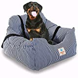 Dog Car Bed,Puppy Booster Seat Dog Travel Car Carrier Bed with Storage Pocket and Clip-on Safety Leash Removable Washable Cover for Small Dog(Blue)