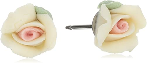 1928 Jewelry Porcelain Rose Stud Earrings