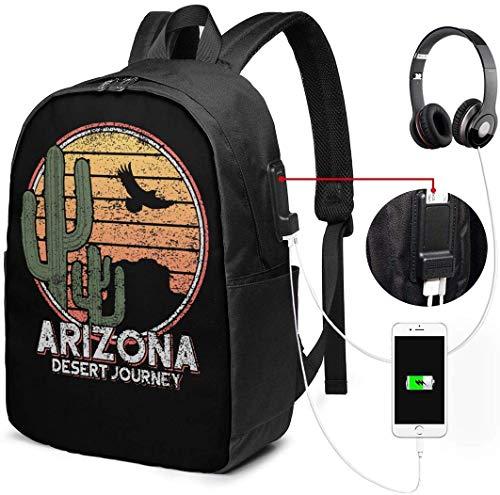 RROOT Mochila Unisex con Puerto de Carga USB Arizona Icon Cactus y Eagle Classic Fashion General Business Bookbag