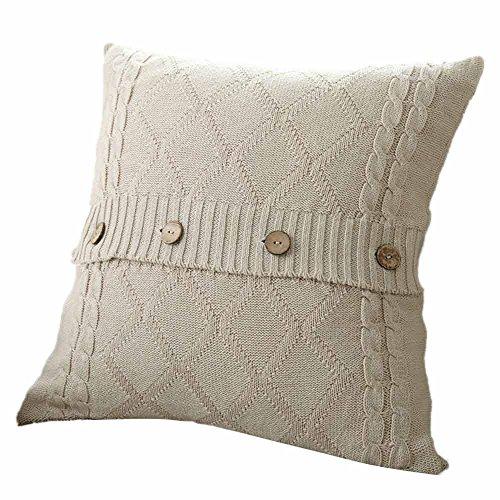Watopi Fundas de cojín de punto de alta calidad con botones tejidos, a rayas, color sólido, protector de almohada para sala de estar, decoración del hogar, 45 x 45 cm