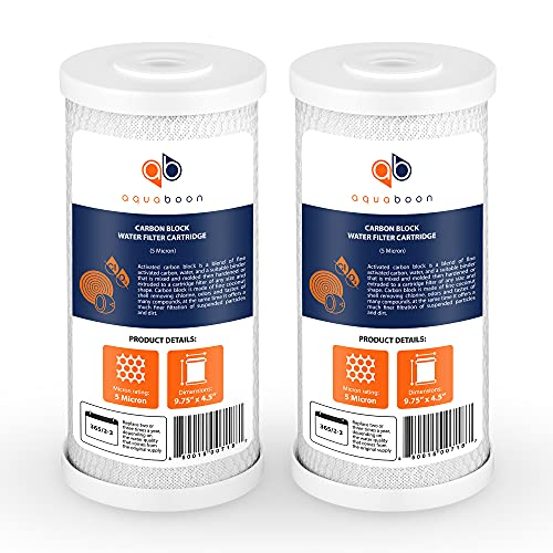 Aquaboon Coconut Shell Water Filter Cartridge | Activated Carbon Block CTO | Universal Whole House 5 Micron 10 inch Cartridge | Compatible with WFHDC8001, CB-10, EPM, EP 2-PACK