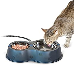 K&H Pet Products Thermo-Kitty Café Stainless/Black 12 ounce + 24 ounce