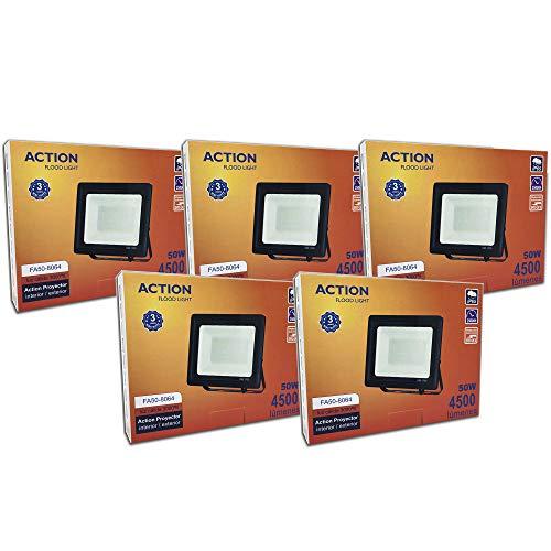 FactorLED ¡OFERTA! Pack x5 Foco LED 50W Negro Slim, Iluminación Exterior e Interior, Proyector Ultrafino IP65, Floodlight Decoración, [Eficiencia energética A+] (Luz Cálida (3000K))