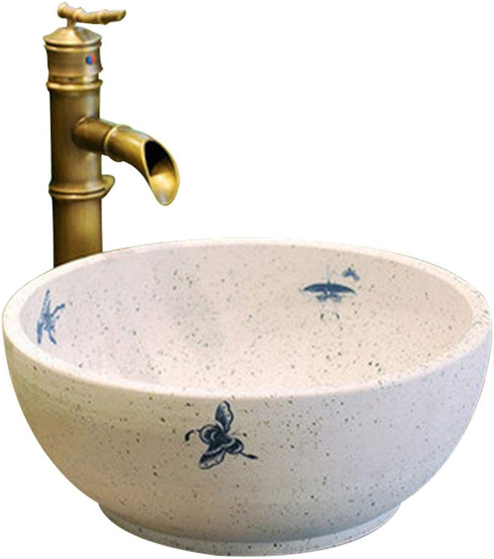 Badezimmer-runde einfache Waschbecken-Wanne Jingdezhen-keramisches Hotel Anti-Splash Waschbecken Waschpltze