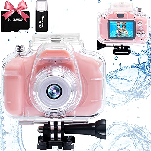 Kids Camera Waterproof Digital Video Camera for Kids HD Underwater Children Action Camera 2 Inch IPS Screen 1080P Camcorder for 3 4 5 6 7 8 9 10 Year Old Girls Boys Best Christmas Birthday Gifts