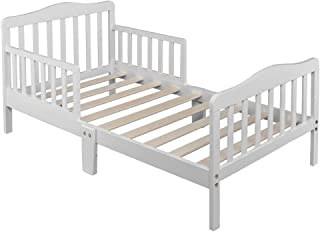 Alooter Toddler Bed Frame Rail Guard Classic Design, Bed for Kids Sturdy Wooden Frame for Extra Safety with Headboard and Footboard (Toddler White)