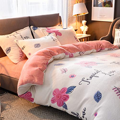 U/K Mimanchi Home Flannel Teddy Fleece Duvet Set Thermal Soft Cosy with Pillowcases Single/Double/King/Super King Pink/White (Pink Floral, Double(200x230cm))