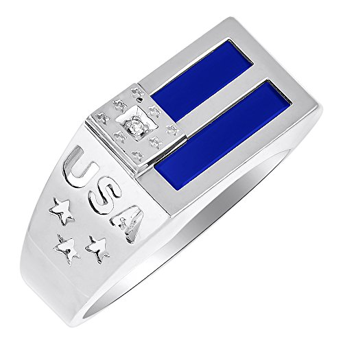 Diamond y anillo Onyx Azul 14K amarillo o de oro blanco patriótico EE. UU.