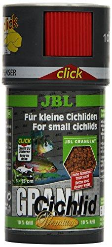 JBL GranaCichlid 40655 Premium Alleinfutter für räuberische Buntbarsche, Granulat Klickdosierer 100 ml