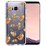 Unov Case Compatible with Galaxy S8 Clear with Design Soft TPU Shock Absorption Slim Embossed Pattern Protective Back Cover (Hanging Sloth)
