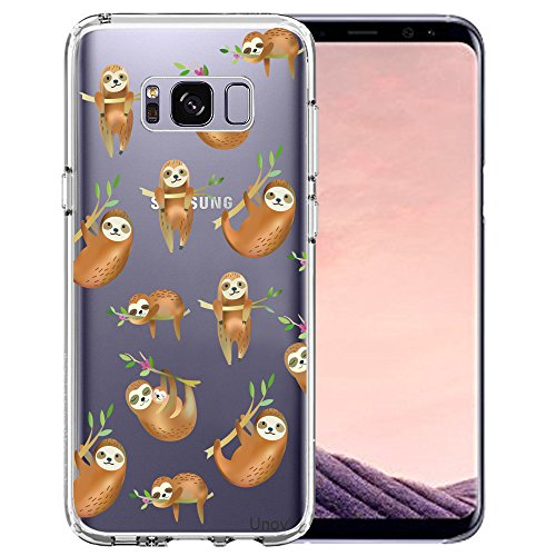 Unov Phone Case Compatible with Galaxy S8 Plus Clear with Design Soft TPU Shock Absorption Slim Embossed Pattern Protective Back Cover (Hanging Sloth)