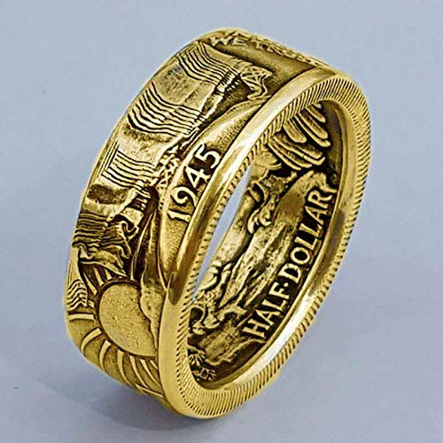LINYIN 2pcs Antique Coin Morgan Ring United States Of America Half Dollar 1945 Ring Creative Alloy Party Ring 7号 ancient gold