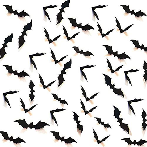 CHICHIC 108 PCS 3D Bat Halloween Wall Stickers Window Decorations with 4 Different Size Realistic Looking Scary Spooky Hanging Bats for Best Halloween Decals Party Favors Props Supplies Cemetery Decor