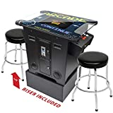 Creative Arcades Full-Size Commercial Grade Cocktail Arcade Machine | Trackball | 60 Classic Games | 2 Sanwa Joysticks | 2 Stools Included | Arcade Riser Included | 3 Year Warranty | Square Glass Top
