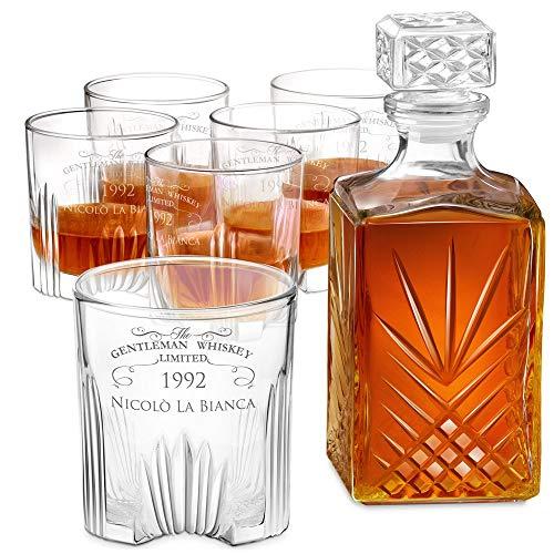 Murrano Set Decanter per Whisky in vetro - 1L - incisione personalizzata - la Caraffa con 6 bicchieri è ideale come regalo per il compleanno per l' uomo - THE GENTLEMAN