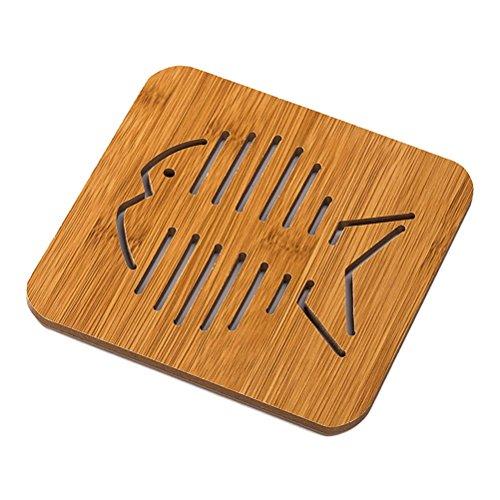 BESTOMZ Holz Getränkeuntersetzer Tasse Geschirr küche hitzebeständige untersetzer Cartoon-Muster (Big Fishbone)