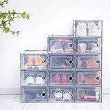 Scatole da 12 pezzi impilabili in plastica trasparente, scatole portaoggetti, 33 x 23 x 14 cm, organizer per scarpe con coperchi, contenitori porta scarpe con apertura anteriore