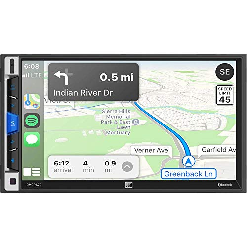 Dual DMCPA70 7-Inch Double-DIN in-Dash Mechless Receiver with Bluetooth