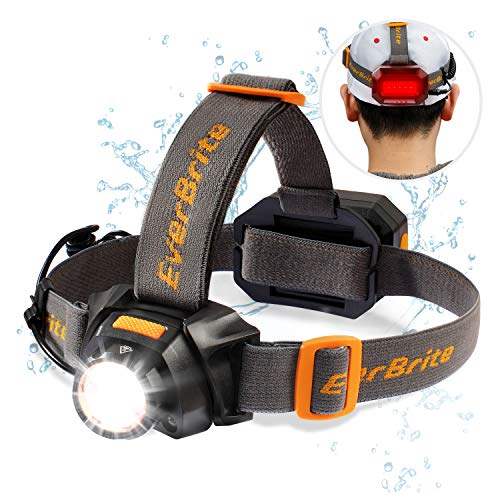EverBrite Rechargeable Headlamp, 300 Lumen Zoomable Super Bright CREE Headlight with White & Red LEDs and Detachable White & Red Taillight, Water Resistant IPX4, 10 Lighting Modes Head Torch