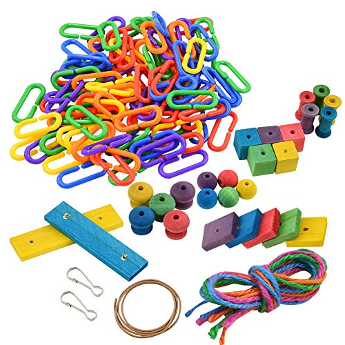FurPaw Giochi per Pappagallo in Legno DIY, Fai da Te Pappagallo Appeso Colorato Altalena Ladder Catena in Plastica Giocattolo da Masticare per Parrocchetto
