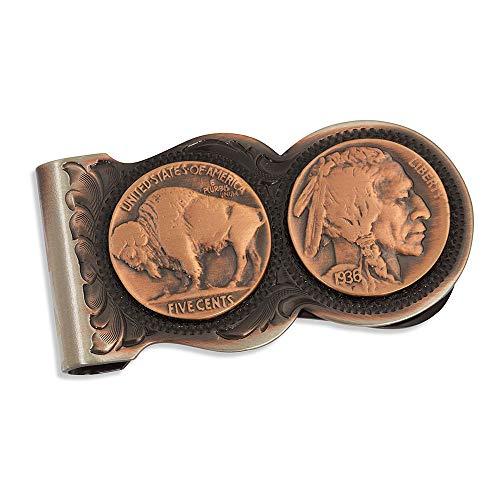Montana Silversmiths Western Themed Money Clip, Made In USA (Buffalo Nickel - Vintage Bronze)