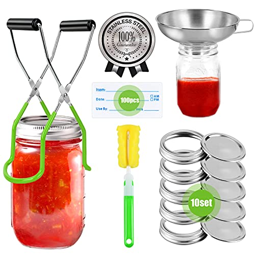 Stainless Steel Canning Supplies, Canning Kits Starter Kit for Beginner:10Pcs Canning Lids with Ring...