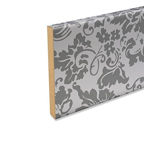 Abdeckleiste Abschlussleiste Wandschutzleiste aus MDF in Weiß Flower 2600 x 12 x 112 mm