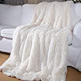 Super Soft Plush Faux Fur Blanket 50' x 60',Fluffy Cozy Comfy Furry Warm Throw Blanket Sherpa Fuzzy Fleece Thick Lightweight Blanket for Bed Chair Sofa Couch Bedroom(Cream White, Throw50 x 60')