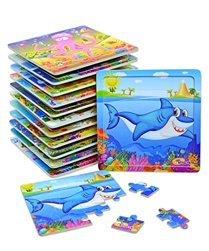 Vileafy Wooden Jigsaw Puzzles for Kids Age 3-5 Years Old, Animals Preschool Puzzles Party Favors for Girls & Boys, 12-pack with Individual Storage Tray & Organza Bag