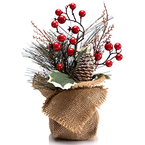 LOHASBEE Artificial Mini Christmas Tree, 10 Inch Small Desk Christmas Tree with Red Berries, Small Ice Crystals and Pine Cone for Holiday Desk Decorations Party Favor