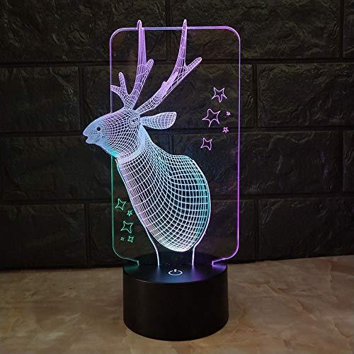 Lámpara de noche de ciervo Decoración de habitación con luz 3D - Lámpara de mesa Artículos para niños Luz de noche LED para niños Regalo de alce