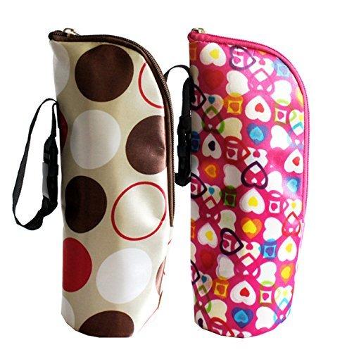 iSuperb 2 Pack Baby Bottle Tote Bags Nursing Bottle Cooler Warmer Insulated Bag for Travel Stroller 3.1x3.1x9.5inch (Floral Print)