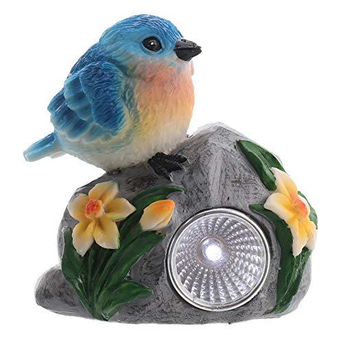 Angoily Luz de Pájaro con Energía Solar Resina Pájaro de Pie en El Maletero Estatuilla Paisaje Luz Césped Decorativo Noche Proyector para Patio de Casa Cielo Azul