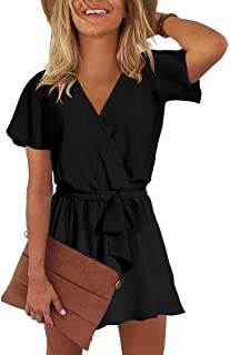 26c52bb74 REORIA Womens Summer V Neck Ruffles Short Sleeve Belted Wrap Short Jumpsuit  Rompers