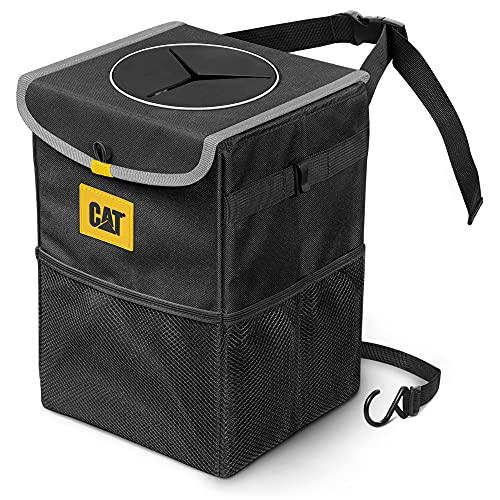 Caterpillar Premium Car Trash Can with Lid Storage Pockets Waterproof Garbage for Auto Multipurpose Storage Organizer Bin - 100% Leak-Proof, Black