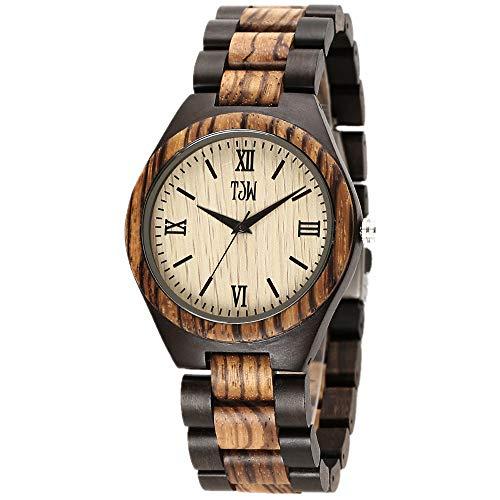 TJW Mens Natural Wooden Watches Analog Quartz Handmade Casual Wrist Watch 6006-4M (Zebra Wood)