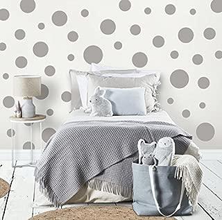 Polka Dot Wall Stickers, Wall Decor Stickers, Wall Dots, Vinyl Circle Room Dot Decals (Grey)