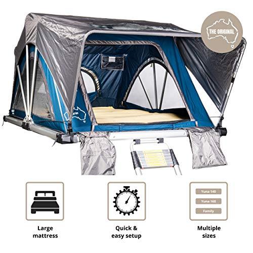 Sheepie® Yuna Auto Dachzelt - Autodachzelt - Leichtes Aluminium Dachzelt - Wasserdicht - Hoher UV-Schutz- Campingzelt - Campingausrüstung - Bungalowzelt - Camping (160)