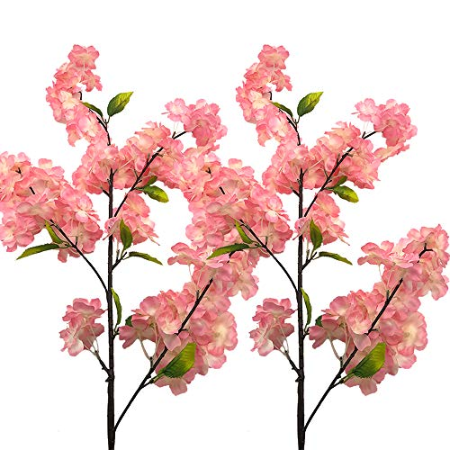 Aisamco 4 Stück Künstliche Kirschblüten Blume Sakura Blumen Dekorative Kunst Blume Plastikblumen Home Garten Hochzeit Party Hochzeit Dekor