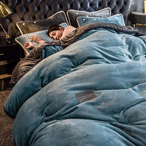 Shinon Juego de Funda de edredón tamaño King,Invierno Cama de Calentamiento Grueso Terciopelo Cama Doble Individual Funda nórdica Individual Ropa de Cama King Size-mi_Cama de 1,5 m (4 Piezas)