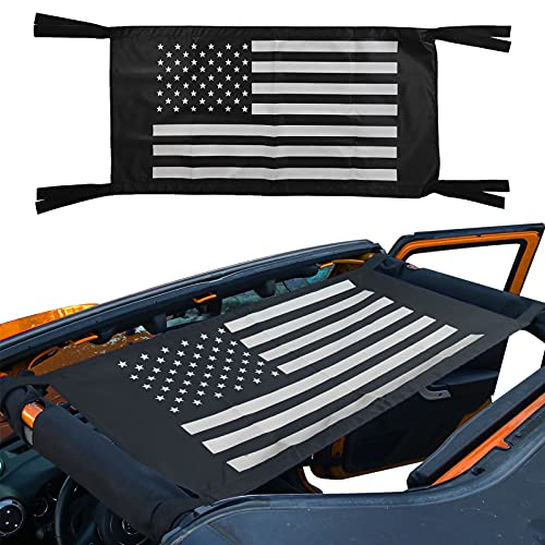 Hammock Car Bed Rest Roof Hammock Mesh Cargo Net Sunshade for Jeep Wrangler YJ TJ JK JKU JL JLU 1987-2021 American Flag