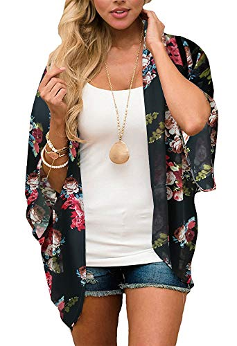 Women's Floral Print Puff Sleeve Kimono Cardigan Loose Cover Up Casual Blouse Tops(Black L)