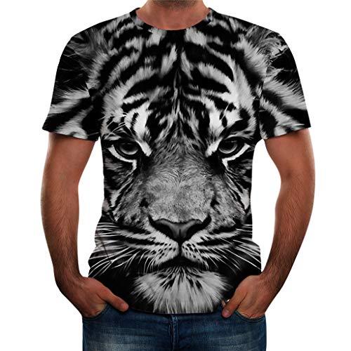 Xmiral T-Shirt Herren Kurzärmlig 3D Tier Gedruckte Slim Fit Tops Bluse Poloshirt Rundkragen Hemd Kurzarmshirt Lose Sportshirt(Schwarz 1,3XL)