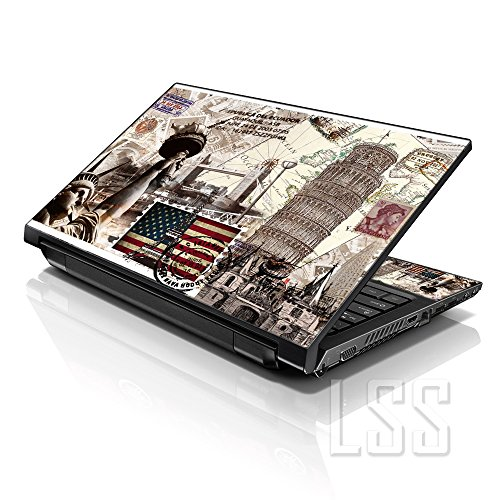 LSS Laptop 15 15.6 Skin Cover with Colorful World Landmarks Pattern for HP Dell Lenovo Apple Asus Acer Compaq - Fits 13.3 14 15.6 16 (2 Wrist Pads Free)
