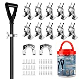 CARTMAN 12 Pack Spring Clamp Garage Closet Wall Organizerfor Shovel, Rake, Broom, Mop Holder, Etc