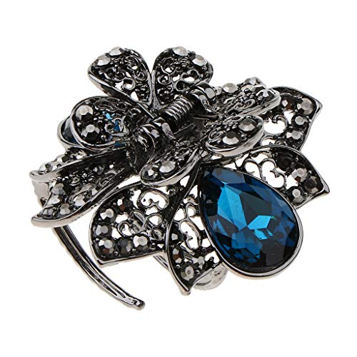 Colcolo Pinza de Pelo de Metal Vintage para Mujer, Pinza de Flor de Cristal, Accesorios para El Cabello - Azul