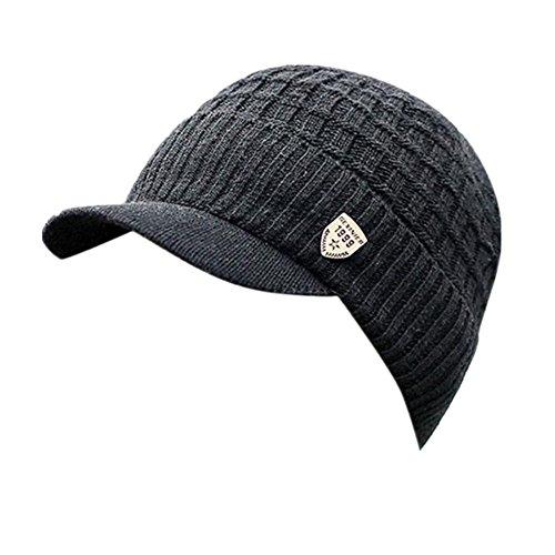 Invierno Hombre Gorro de Punto Tejer de Lana Beanie Sombrero de Gorras con Viseras (Negro)